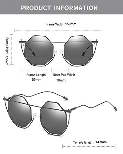 del Retro hombre color señoras de para Poligonal caso marco puente Gafas mujer la desgaste doblado Vintage el Gafas color para negra lente ojo sol Verde las con Unisex Perla de wwq4xO8U