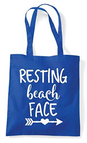 Summer Beach Resting Tote Shopper Statement Blue Face Bag Royal EqaAqg