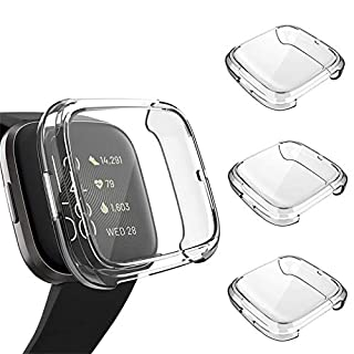 3 Pack Screen Protector Compatible Fitbit Versa 2 Case, GHIJKL Ultra-Thin Slim Soft TPU Protective Case All-Around Full Cover Bumper Shell for Fitbit Versa 2 Smart Watch, Clear, Clear, Clear
