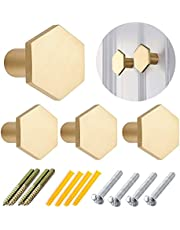 4 Pcs Hexagon Brass Drawer Knobs,27mm Cabinet Drawer Knobs, Single Hole Small Handle Surface Brass Wall Hooks Hat Rack for Door Cupboard Kitchen Cabinet Dresser