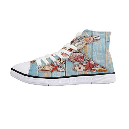 Letter X Stylish High Top Canvas Shoes,Summertime Fun with Underwater Wildlife Elements Aged Blue Planks Decorative for Men & Boys,US 11