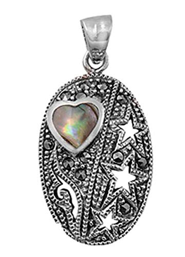 - Star Heart Pendant Simulated Abalone Marcasite .925 Sterling Silver Cutout Charm Vintage Crafting Pendant Jewelry Making Supplies - DIY for Necklace Bracelet Accessories by CharmingSS