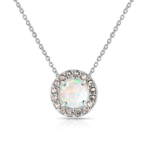 (GemStar USA Sterling Silver Simulated White Opal and Simulated Morganite Round Halo Necklace)