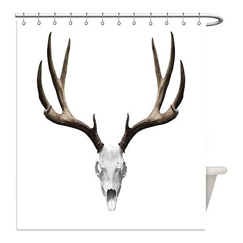 Diy Hunter And Deer Costume (Liguo88 Custom Waterproof Bathroom Shower Curtain Polyester Antlers Decor A Deer Skull Skeleton Head Bone Halloween Weathered Hunter Collection Decorative bathroom)