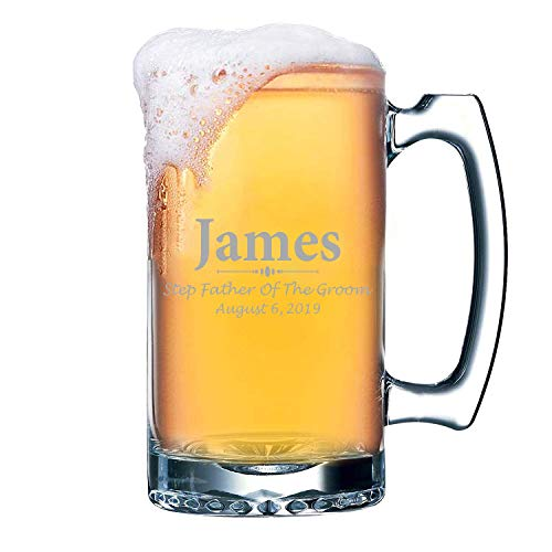 Step Father of the Groom Beer Mug Personalized Bonus Father Wedding Gifts Custom Name & Date, Laser Etched & Engraved Premium 16 Oz Keepsake Novelty Rehearsal Dinner Gift for Men (Best Man Rehearsal Dinner)