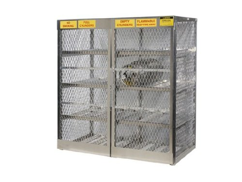 Justrite 23005 Welded Aluminum 16 LPG Cylinder Horizontal Locker, 60' Overall Width x 65' Overall Height x 32' Overall Depth 60 Overall Width x 65 Overall Height x 32 Overall Depth Justrite Manufacturing