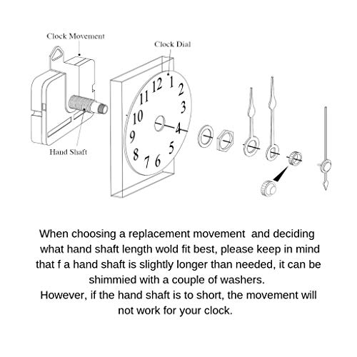 Replacement Battery Quartz Movement for Hermle 2114, 2115 or Any Clock, DIY Clock Kit with Howard Miller 354471 / Kieninger QQA10, 16mm Shaft Length by QWIRLY (Image #5)