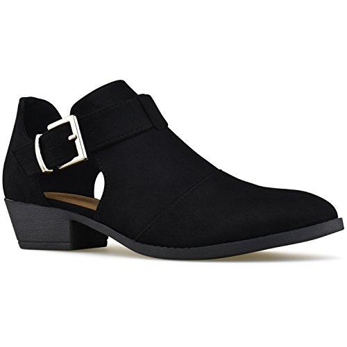 Premier Standard Women's Strappy Buckle Closed Toe Bootie - Low Heel Casual Comfortable Walking Boot Black F*