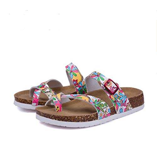 Women's Sandals Cork with Open Slide Buckle 12 Strap YaMiFan Toe Adjustable Flat dg6nwwIx