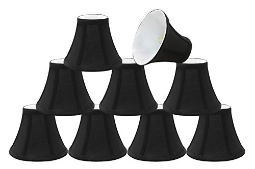 30034-9 Small Bell Shape Chandelier Clip-On Lamp Shade Set 9 Pack , Transitional Design in Black, 6 Bottom Width 3 x 6 x 5