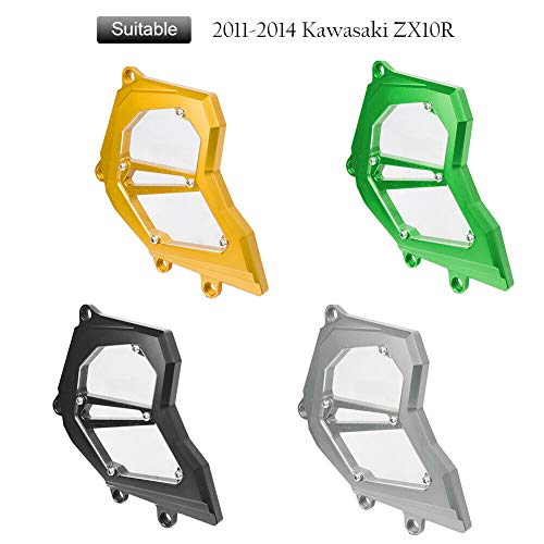 FATExpress Motorcycle Billet CNC Aluminum Front Chain Guard Sprocket Engine Cover for 2011-2014 Kawasaki Ninja ZX-10R ZX10R ZX10R 2012 2013 11-14 (Green)
