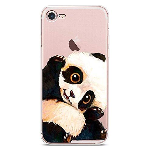 iPhone 7 Plus Case, iPhone 8 Plus Case, JICUIKE Cute Animal Pattern Painted Printed Transparent Silicone Protective Skin Ultra Slim Clear Soft TPU Bumper Protective Back Cover 5.5 inch [Lovely Panda]