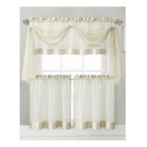 Vine Embroidered Kitchen Window Curtain Set- 1 Valance with Voile Scarf, 2 Tier Panels (Beige)
