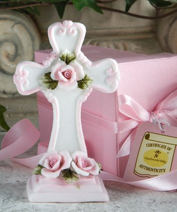 - Capodimonte Collection pink cross figurines