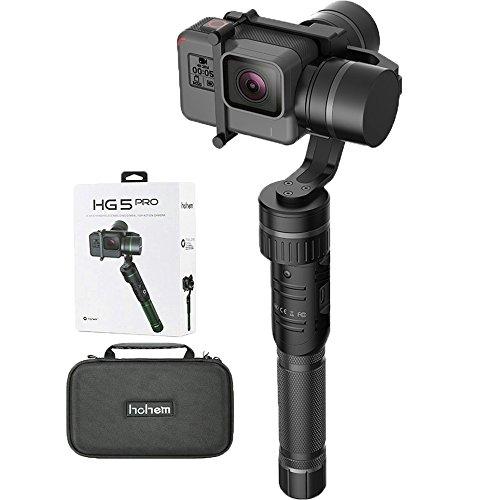 Action Camera Gimbal Stabilizer, Hohem 3 Axis Gimbal Stabilizer, Full 360 Degrees Handheld Gimbal for Gopro Hero 6/5/4/3, Yi Cam 4K, AEE Sports Cams,Auto Panoramas(HG5 Pro Black)