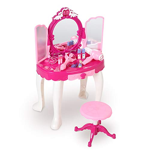 Cocoarm Girls Make Up Dressing Table,Kids Vanity Table,Glamorous Princess Dressing Table with Stool, Mirror, Hair Dryer,Best Gift for Girls