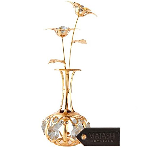 "Mothers Day Gift - ""Sun Flowers In vase Ornament"" Dipped in 24K Gold & Crafted with Stunning Clear Crystals, Comes in Luxury Packaging – Great Gifts idea for Mom from Daughter, Son by Matashi"