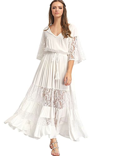 Milumia Women's Bohemian Drawstring Waist Lace Splicing White Long Maxi Dress White -
