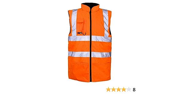 Men Hi Viz Fleece Bodywarmer Adult High Visibility Reflective Work Wear Vest Top