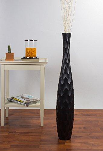 Tall Floor Vase 36 inches, Wood, Black by Leewadee