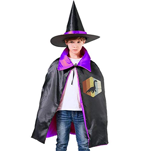 (Kids Retro 70s Loch Ness Monster Icon Halloween Party Costumes Wizard Hat Cape Cloak Pointed Cap Grils)