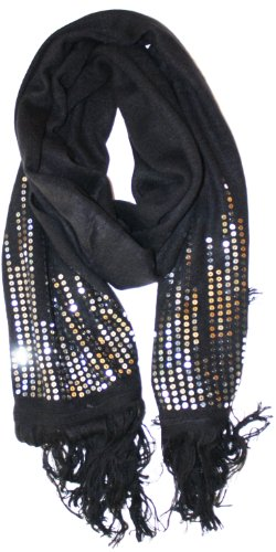 LibbySue-Elegant Knit Shawl Stole Scarf Bordered in Sequins in Black