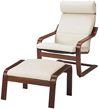 Amazon Com Ikea Poang Chair Armchair And Footstool Set With Off White Leather Covers Furniture Decor