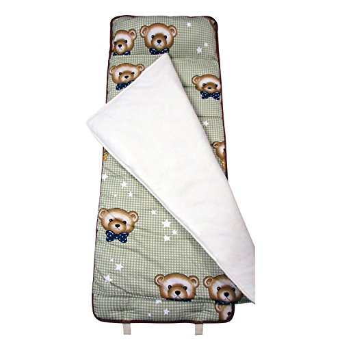 SoHo My Cuddly Bears nap mat for toddler preschool day care with pillow lightweight rolled nap mats by Ellie and Luke