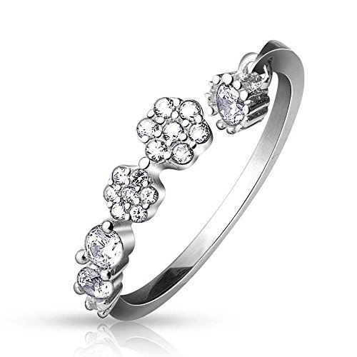(CZ Paved Flowers and Round CZ Dangle Adjustable Toe Ring)