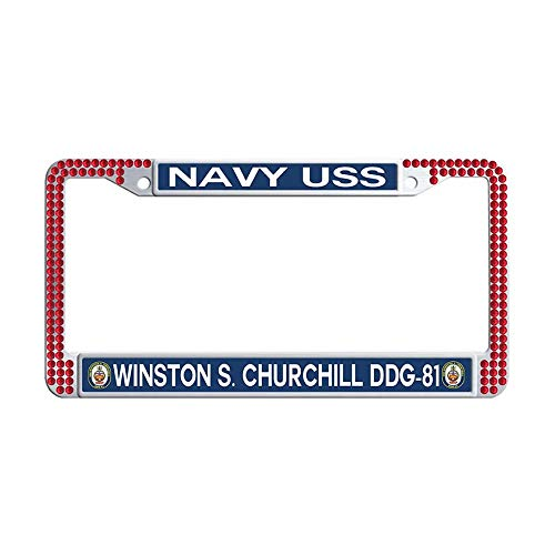 Sparkle Bling Rhinestone License Frame car, U.S. Navy Military USS Winston S. Churchill DDG-81 Red Glitter Crystal Rhinestones License Frames Plate with Screws Caps Set