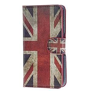 WQQ Modelo retro de la bandera de Reino Unido y de cuero de la PU del caso plástico de la contraportada del cuerpo completo para Samsung Galaxy i9600 S5