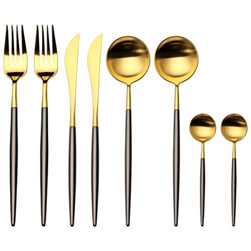 Stainless Steel Flatware Set, Morgiana 8-Piece 18/10 Flatware Sets Including Fork Spoons Knife Tableware Utensil Set Service for 2 (Black & Golden)