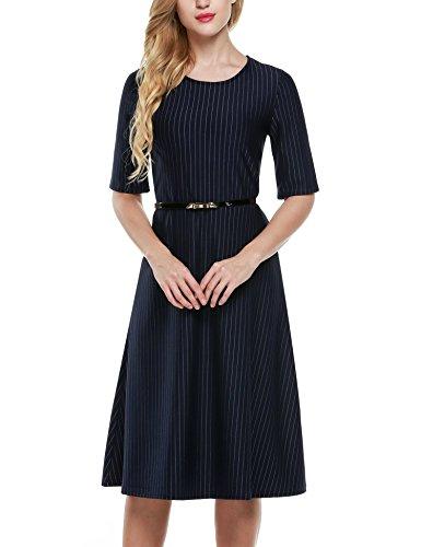 nea Ajuste Oficina De Audrey Oscuro Color Hepburn C ctel Fiesta El Con Vestido Cinta Azul De Un Abocinada De Angvns L Y xXwtYFXSq