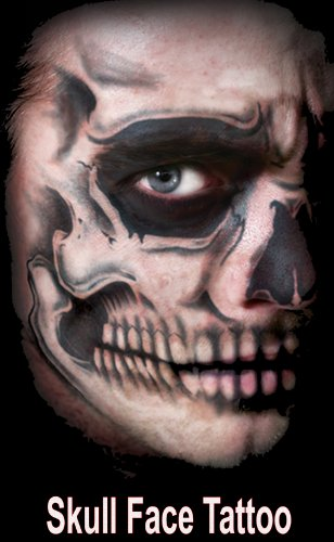 [Skull Full Face Special Effects Face Temporary Tattoo] (Skeleton Makeup)