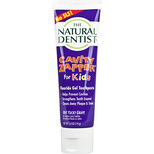 The Natural Dentist Cavity Zapper Fluoride Gel Toothpaste For Kids, Not Yucky Grape Flavor, 5 Ounce Tube, Kids Toothpaste for Daily Use, Reduces Plaque, Helps Prevent Gingivitis and Cavities, No SLS ()