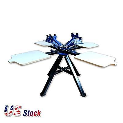 4 Color 4 Station Screen Double Wheel Printing Machine Press Silk Screen Printer- US Stock