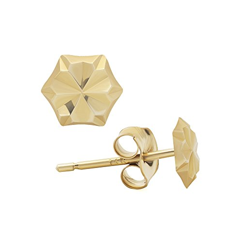 14K Yellow Gold Six-Sided Hexagon Diamond-Cut Stud Earrings (4 Millimeters) 14k Yellow Gold Rough
