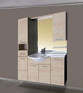 Luxus Badezimmermöbel Badmöbel Waschtisch Verbau ATRIUM Weiss Oder Ahorn  Wandhängend 135cm Bestehend Aus Waschbecken, Spiegel