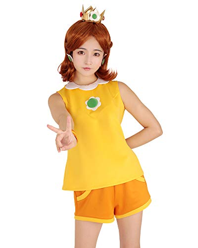 Miccostumes Women's Princess Daisy Tennis Outfit Cosplay Costume with Crown (XL) Yellow ()