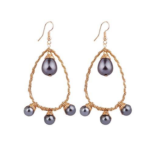 DDLmax Dangle Hook Earrings for Women Girls, Bohemian Creative Natural Freshwater Pearl Wire Wrapped Woven Earrings Jewelry