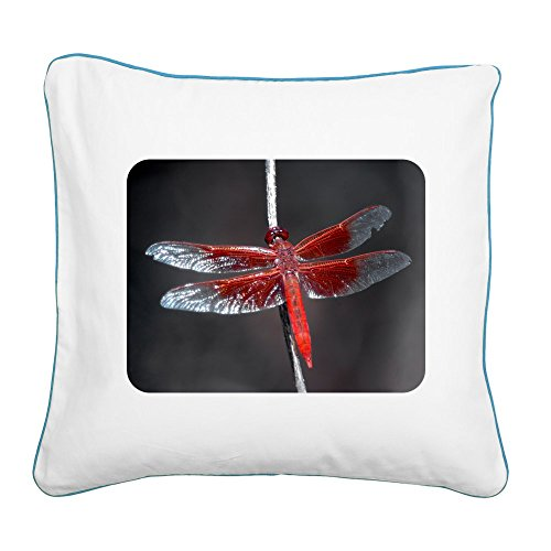 - Square Canvas Throw Pillow Caribbean Blue Red Flame Dragonfly