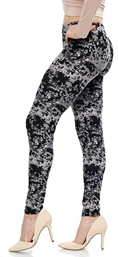 LMB | Womens Extra Soft Leggings | Variety of Prints | One Size | Black White Abstract