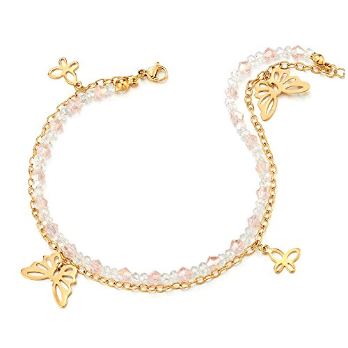 COOLSTEELANDBEYOND Gold Color Steel Pink White Crystal Beads Chain Two-row Anklet Bracelet with Dangling Butterflies by COOLSTEELANDBEYOND