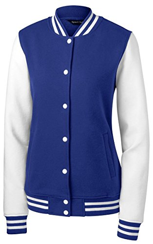 Twill Letterman Jacket - Sport-Tek Women's Fleece Letterman Jacket XL True Royal/ White