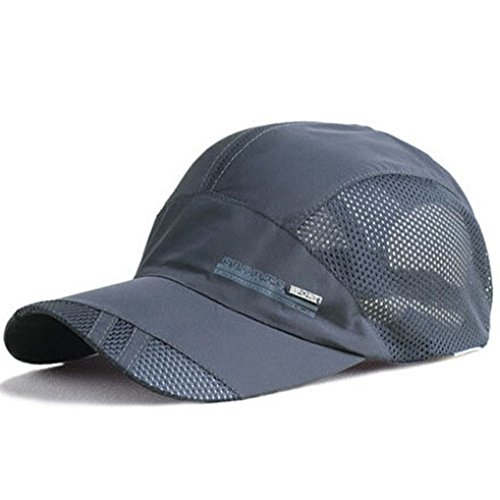 Outdoor Cap Cotton Visor (YING LAN Men's Summer Outdoor Sport Baseball Hat Running Visor Sun Cap Grey 2)