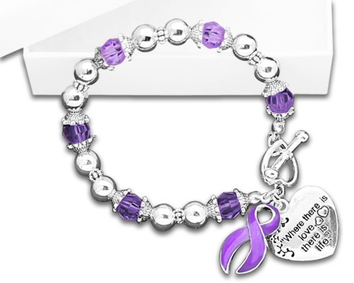 Fundraising For A Cause Lupus Awareness Purple Ribbon Bracelet in a Gift Box - Where There is Love (Retail)