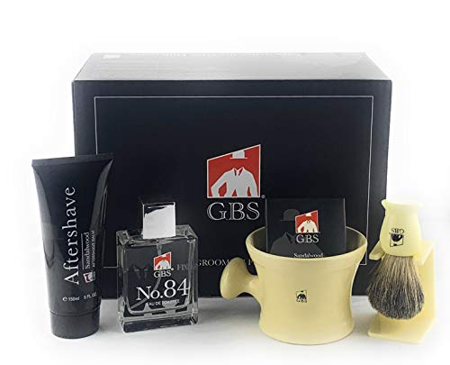 GBS Premium Men's Wet Grooming Shaving Set-Gift Boxed-Ceramic Ivory Shaving Mug with Knob Handle, Pure Badger Hair Brush + Stand, Sandalwood Shave Soap, No.84 Cologne, and Sandalwood Aftershave! ()