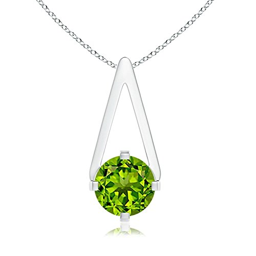 Flat Prong-Set Solitaire Peridot Triangle Pendant Necklace for Women in Silver (6mm Peridot) (Triangle Pendant Peridot)