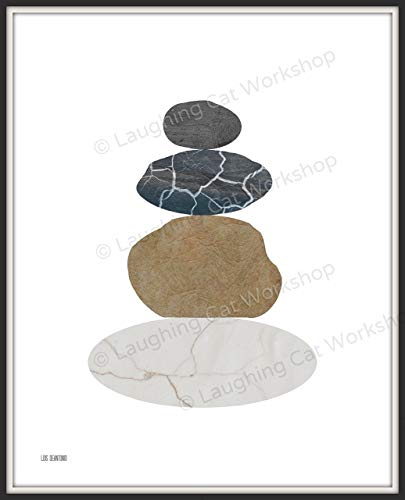 Meditation art Cairn Stone art Abstract Scandinavian Art contemporary modern art Print, River Rock Poster Hiking Trail Nature Zen Office Decor, Minimalist Outdoors summer home decor