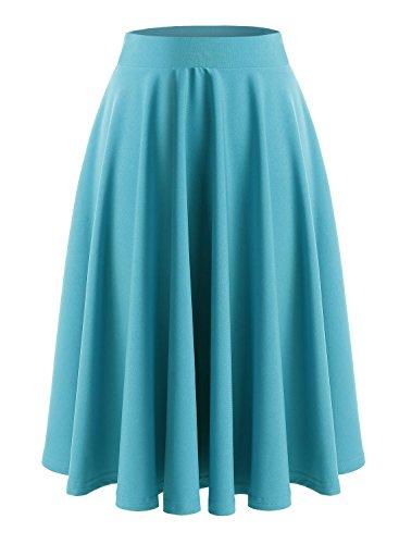Basique Haute lgante Femmes Plisse Elastique Vintage Jupe Pliss Midi Taille Casual Patineuse Jupe Turquoise Wedtrend Fille Cocktail Xzw50q